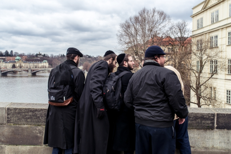 A group of Jewish men peering at something below the bridge. Prague has an incredibly rich history, much of which involves a significant Jewish presence. Surrounded by Old Town Prague is the Jewish quarter--called Josefov--which we stayed in for three of our nights in the city.
